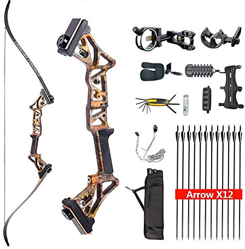 TOPOINT ARCHERY R3 Hunting Recurve Bow and Arrows for Adults,Takedown Recurve Bow Package,Ready to Shoot Archery Kit,40lbs,45lbs,50lbs / Black,Ghost,Camo Colors Can Be Selected (Forest CAMO, 50LB)