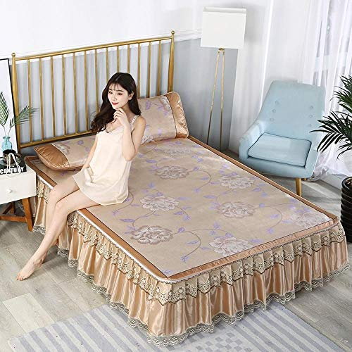 KIKIGO Summer Sleeping Cooling Mattress,Bed skirt ice silk mat, lace lace, foldable, washable air-conditioning soft mat-A18_200*220cm(6.6 * 7.2ft)