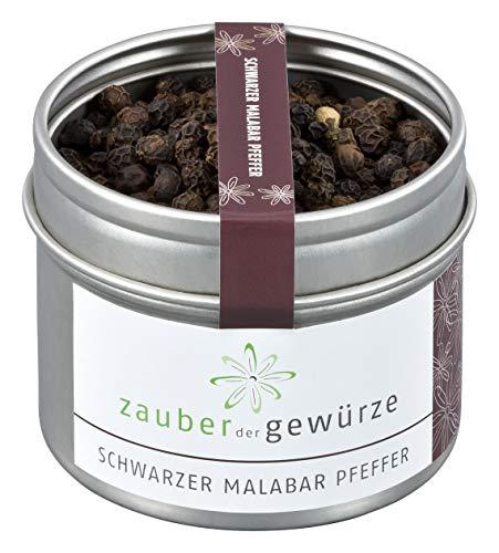 Zauber der Gewürze Schwarzer Malabar Pfeffer in Premium-Qualität - grober schwarzer Pfeffer in Aromadose - für Fleisch, Fisch, Eintöpfe, Salat, 65g