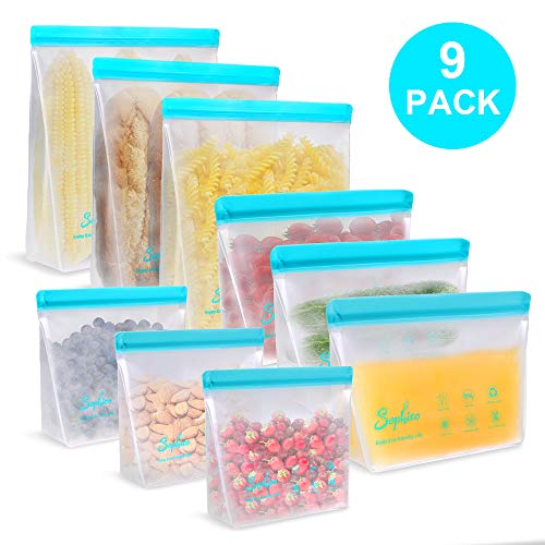 Reusable Storage Bags, Leakproof Freezer Stand Up Sandwich Bags, BPA-FREE PEVA Ziplock Lunch Bags for Fruit, Cereal, Sandwich, Snack, Travel Items, Meal Prep, Home (9 Pack - 3 Large 3 Medium 3 Small)