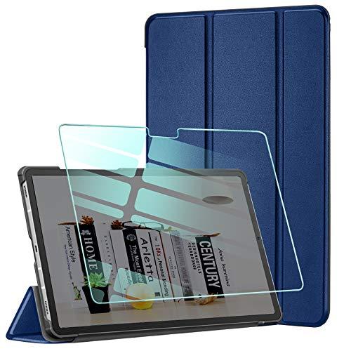 AROYI Custodia Cover Compatibile con Samsung Galaxy Tab A7 10.4 2020 con Vetro Temperato, Ultra Sottile Magnetica Custodia in Pelle PU Case con Auto Svegliati Sonno (SMT500 T505 T507), Blu