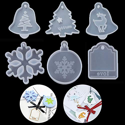 6Pcs Christmas Theme Silicone Resin Casting Mold Kit Epoxy Resin Pendant Mold with Hanging Hole, Including Snowflake, Xmas Tree, Elk, Bell, Tag (Small)