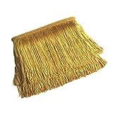 Yalulu - Puntilla de flecos, decorativa, 10 metros de largo y 10 cm de ancho, para manualidades y ropa latina, accesorios para ropas, cinta de encaje 5Yards*4.5cm dorado