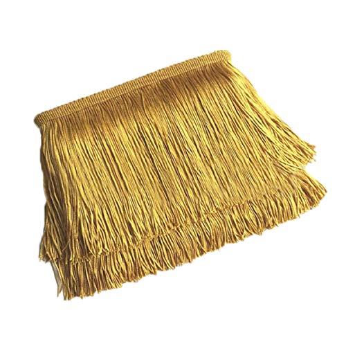 Yalulu 10 Meter Länge 10cm Breite Quaste Seide Fransen Geschnitten Fransenborte Kostüm Quaste Trimmen Apparel Fransenband Nähzubehör (Gold)