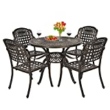 OKIDA 5 Piece Outdoor Cast Aluminum Patio Dining Set, Conversation Furniture Set for Patio Deck Garden with 4 Chairs and Round Table, Umbrella Hole, Flora and Lattice Design