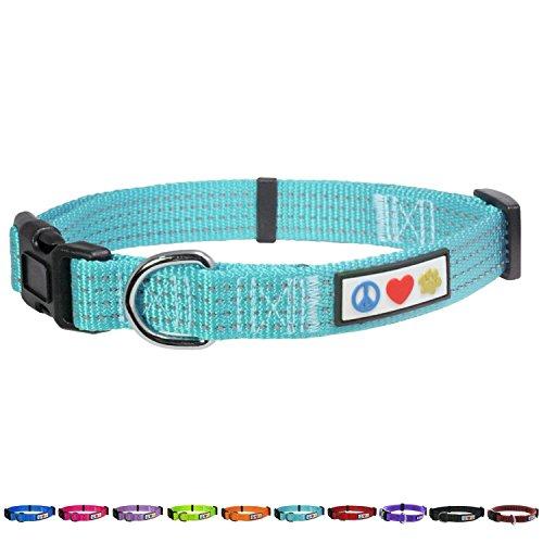 PAWTITAS reflektierendes Halsband Welpen-Halsband Haustier-Halsband Trainings-Halsband extra klein Hunde-Halsband Teal Hunde-Halsband