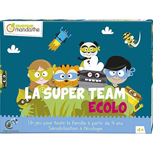 Avenue Mandarine JS003C – Eine Box La Super Team Eco, bestehend aus einem Spiel, einem Spiel mit Guten Möglichkeiten, einem Puzzle mit 25 Teilen und einem Eco-Quizz.