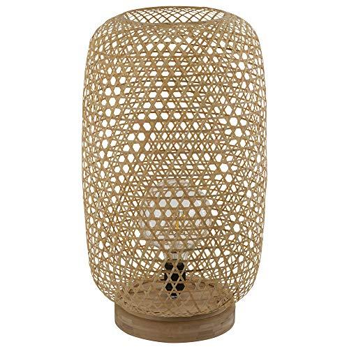 Stehleuchte Rattan Stehlampe Bambus Lampe natur, dimmbar Fernbedienung Farbwechsel, 1x 9W 1x 806 lm 3000K, LxBxH 27,5x21,5x29 cm, Wohnzimmer, Flur