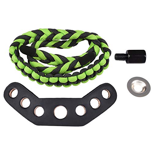 Compound Bow Paracord Braided Wrist Bow Sling Strap Tool Archery Accessories Can Adjustable Green (Pack of 1