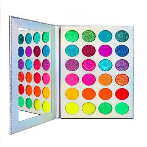 24 Farben Neon Lidschatten Palette Glitzer, UV Grow Blacklight Makeup Eyeshadow Palettes Matte Glitter,für Augen,Gesicht, Haare,Körper,Hochpigmentierte Rot Gelb Lila Grün,Bright Eye Shadow
