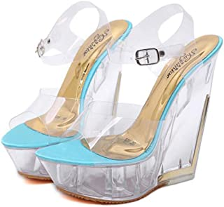 Womens Fish-Billed Wedge Sandals,Buckle Open Toe Adjustable Sandals,Summer Ankle Strappy Transparent Sandals BucklePromPartyShoes,Blue,40 EU