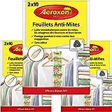 AEROXON Papel de polilla contra ácaros, escarabajos y larvas Protege contra las polillas por tu ropa en tu armario [3 x 20 Piezas]