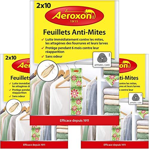 Aeroxon Motte Karte - 3 x 20 Stück - Gegen Milben, Käfer und Larven - Schutz vor Motten an der Kleidung in Ihrem Kleiderschrank
