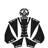 Protector para el Tanque Pegatinas De La Almohadilla del Tanque De La Motocicleta Protectores De Tanques De Combustible De Gas Gráficos 3D De Fibra De Carbono para Kawasaki Z1000 (Color : Blanco)