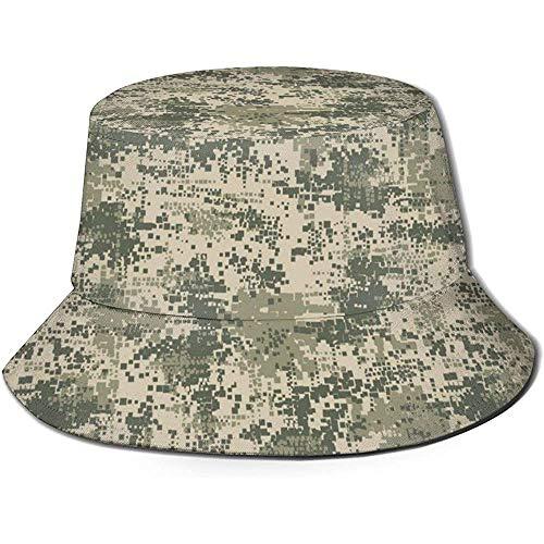 Henry Anthony Unisex Bucket Hat Green Army Desert Camo Digital Impreso Sombrero para el Sol al Aire Libre Summer Travel Outdoor Cap