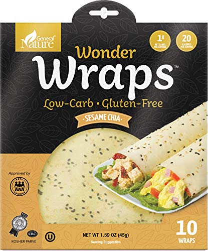 Wonder Wraps -Sesame Chia- Low Carb Keto Tortillas | Non-GMO Kosher Low Calorie Burrito Wraps | Perfect for Weight Loss | Delicious Gluten Free, Soy and Nut Free, Vegetarian Food -1 Pack/10 Thin Wraps
