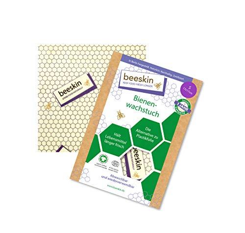 beeskin Paño de cera de abeja para mantener los alimentos frescos – Papel encerado como alternativa a los filamentos y plástico – Tamaño: S 17 x 17 cm