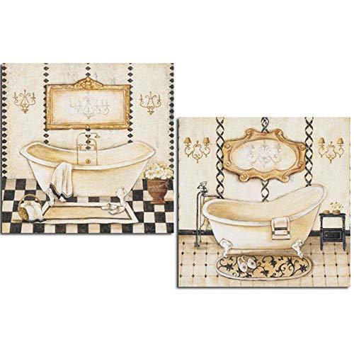 Cuadros decoración baño Rustico 24X24X7, polímero barniz impermeable con adhesivo industrial para pegar. Fácil instalación.