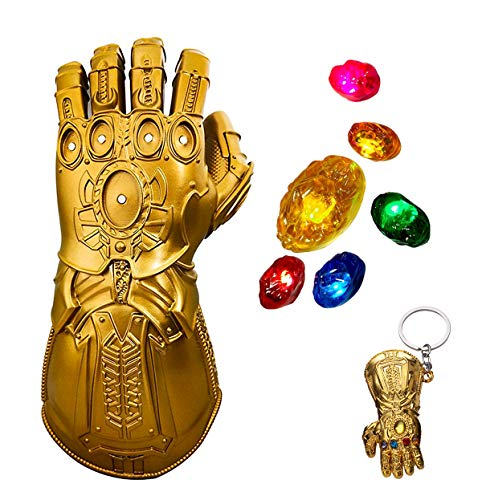 Iron Man Infinity Gauntlet LED Stones Gem Light Up Glove Halloween Cosplay Props Thanos Gauntlet for Kids Removable Glove