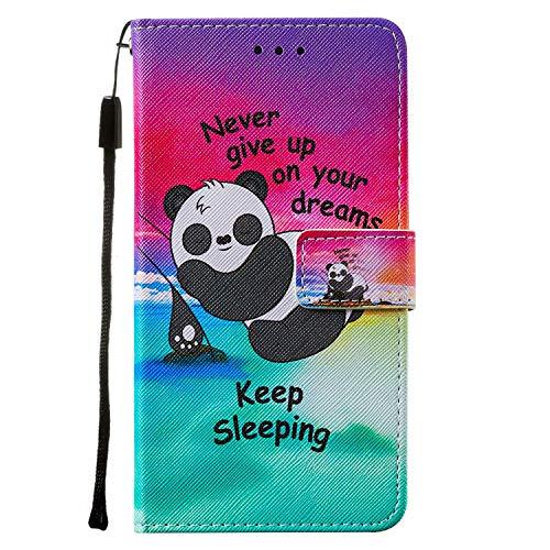 Miagon Lanyard Brieftasche Etui für Samsung Galaxy A01,Niedlich Lustig Panda Entwurf Pu Leder Magnetverschluss Weich Innere Buchstil Schutzhülle Klapphülle mit Standfunktion
