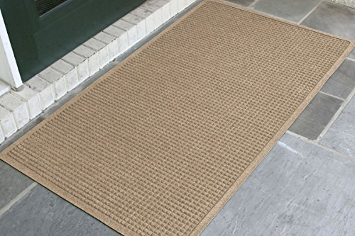 WaterHog Fashion Mat | Commercial-Grade Entrance Mat with Fabric Border – Indoor/Outdoor, Quick Drying, Stain Resistant Door Mat (Camel, 3' x 5')