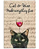 Póster de gatos y vino con texto 'Make Everything FINE Gifts for Lovers'