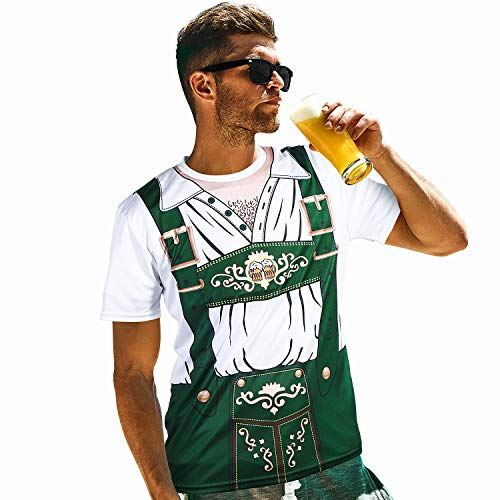 Herren Deutsch Bayerisches Bierfest Kostüm Lederhosen 3D Kurzarm T-Shirt Bier