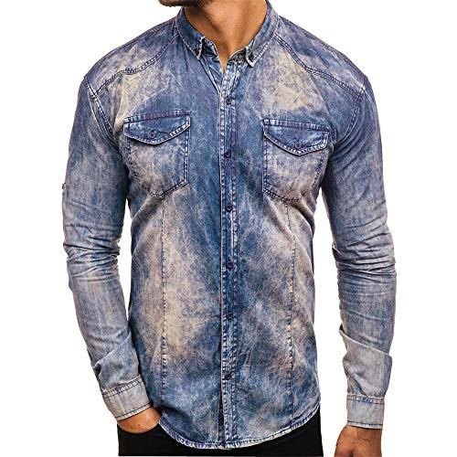 SALEBLOUSE Autumn and Winter New Mens Long Sleeve Button Down Camo Printed Casual Simple Comfortable Denim Dress Shirt Tops Blouses Cardigan Pullover with Pockets