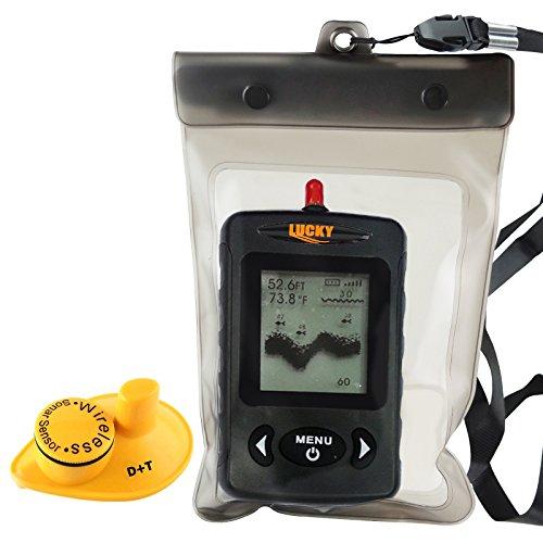 Lucky FFW-718 Portable Fishfinder Locator 45m Tiefe 120m Wireless Sonar Reichweite, Wassertemperatur Fisch Größe & Standort, Fanggeräte Werkzeuge Frisch- & Salzwasser, Meer, See, Fluss, Eis Eiswasser (SCHWARZ)