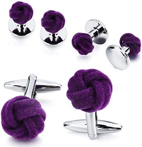 Vesna Men's Shirt Jewelry Cufflink Stud Set Fashion Blue&Purple Silk Knot Cuff Links Button Come With Box (Purple)