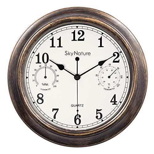 Reloj de pared vintage, 30 cm, para interior y exterior, resistente al agua, con termómetro e higrómetro, silencioso, funciona con pilas, para dormitorio, salón, cocina, jardín, piscina, color bronce