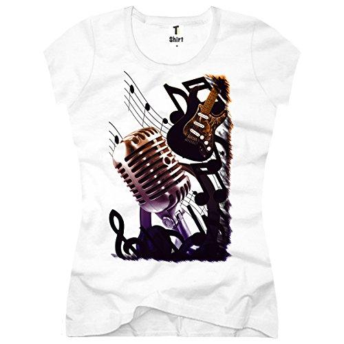 TEE-Shirt, Damen T-Shirt Musik-Noten Größe L,Weiß