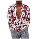 D-Rings Camisa para hombre, camisa informal de algodón y lino, camisa de manga larga con solapa, multicolor, camisa hawaiana, rojo, XXXXXL