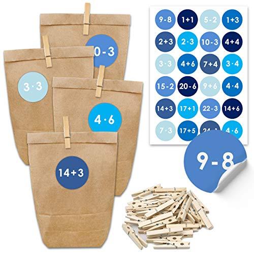 Adventskalender zum Befüllen 2020-24 Geschenktüten und 24 Zahlenaufkleber und Klammern - Motiv Blau - Mathematisch - zum Befüllen und Basteln - Weihnachten 2020 - Mini Set Nr 9
