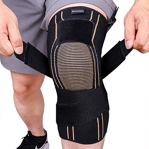 Thx4COPPER Sports Kompression Knieorthese mit verstellbarem Gurt - Kniebandage Linderung Arthritis, Knieschmerzen,MCL, Kniestütze für Laufen, Basketball, Kniebeugen- Kniegelenkstütze-Single-XXL