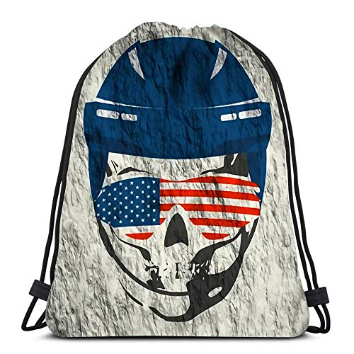 Kkyoxdiy Drawstring Backpack Bags Anatomic Skull Wearing Classic Ice Hockey Helmet and Sunglasses Flag of Usa Sports Gym Bag