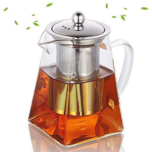 Highbor Glass Teapot with Infuser500 ml /169oz Borosilicate Glass Tea Pot with Tea Strainers for Loose Leaf Tea Microwavable and Stovetop Safe Teapot