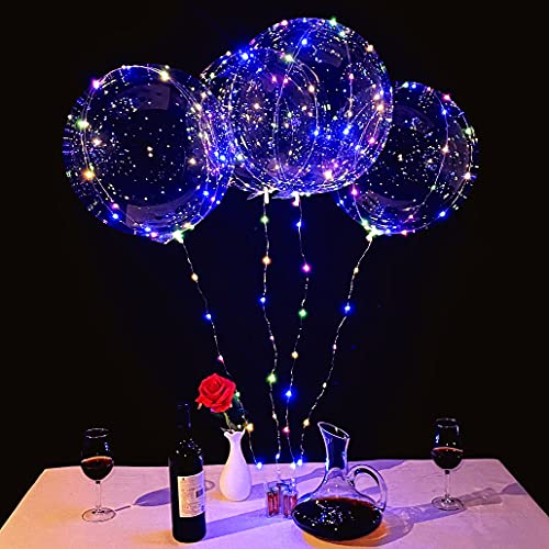 LED Balloons 10 Packs, Light Up Bobo Baloons 20 Inches Clear Helium Transparent Balloons 15 pcs, Blowed by Helium Tank...