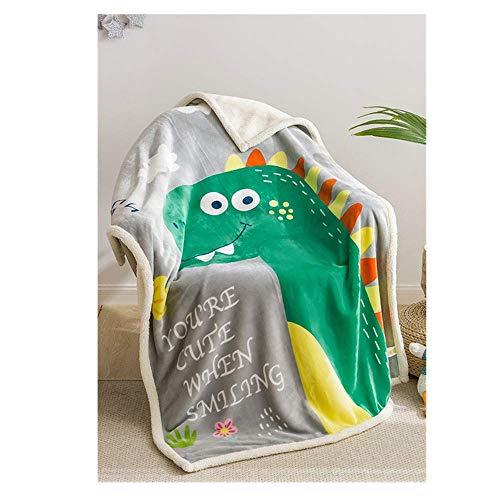HYRGLIZI Kinder Baby Herbst und Winter Bettdecke 100 * 140 cm weiche Mikrofaser Flanell und Lammwolle Doppeldecke geeignet für drinnen und draußen (grau, Dinosaurier)