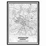 Ingolstadt Deutschland Karte Wandkunst Leinwand drucken