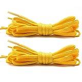 Stepace [2 Pares de Cordones Redondos de 60cm Para Sneakers, Longitud 200cm 18 Colores, Cordones de Zapatos Amarillo 120cm