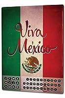 カレンダー Perpetual Calendar Holiday Travel Agency Viva Mexico Tin Metal Magnetic