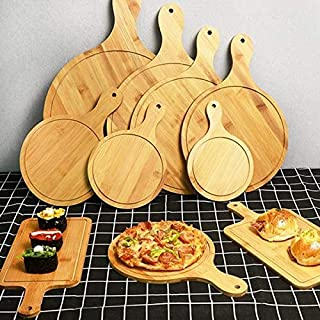 ZOUJIN 1 Pcs Wooden Pizza Paddle Cheese Serving Tray Plate Cutting Chopping Board Round (Color : 12 inch)