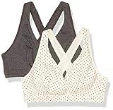 Playtex Women's Maternity & Nursing Cross Over Sleep Wirefree Bra US4960 2-Pack, Ivory/Black Pin Dot + Gravel Grey Heather, Medium