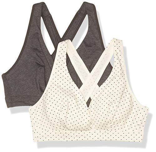 Playtex Women's Nursing Sleep Bra, 2-Pack, Ivory/Black Pin Dot + Gravel Grey Heather, Small