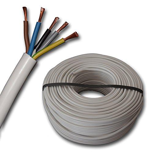 Herdanschlussleitung - Herdanschlusskabel - H05VV-F 5G2,5 mm² - 10 Meter - weiß - 5x2,5 mm²