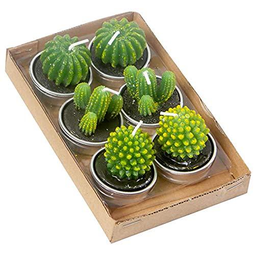 Jiechang Kaktus-Teelicht-Kerzen, zarte, dekorative Kerzen, handgefertigte künstliche Sukkulenten, zarte Kaktus-Kerzen, für Party, Hochzeit, Spa, Geschenke, 6 Stück