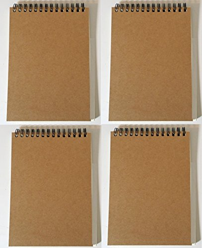Steno Notebooks Kraft Paper Covers (5 x 7 Spiral Notepads Set of 4)