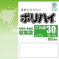【ケース販売】 ポリハイ ごみ袋 30L 0.03 半透明 (LP-30HT) 20枚入×30冊