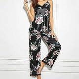QINAG Sin Mangas Floral cordón de la Manera señoras de Las Mujeres Pijamas Set con Cuello en V Impreso Ropa de Dormir Mujeres Pijama Casual de Las señoras sin Mangas de la Camisa de Dormir